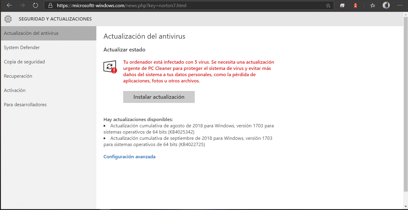 Falta Actualización Virus